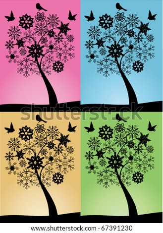 vector snow trees with snowflakes and birds