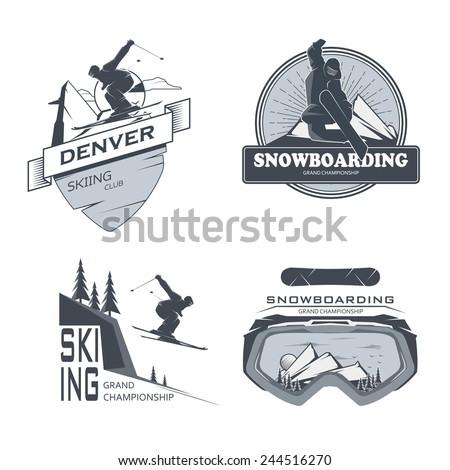 Vector snowboarding,skiing labels - stock vector