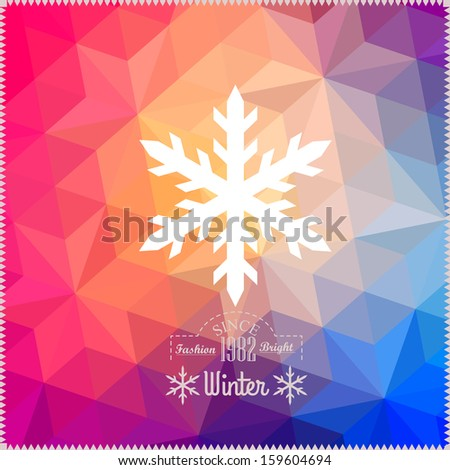 Vector snowflake. Abstract snowflake on geometric pattern. Snowflake sign. Christmas. New Year card illustration.Holiday design. Winter Backdrop. Retro pattern of geometric shapes. Hipster background - stock vector