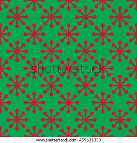 Vector snowflake Christmas seamless pattern on green background.