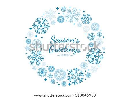 Vector Snowflake Wreath. - stock vector