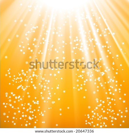 Vector - snowflakes and stars descending on a path of golden light - stock vector
