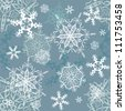Vector snowflakes seamless background, winter, Christmas, New Year theme - stock vector
