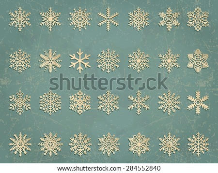 Vector snowflakes set. Elegant snowflakes for Christmas and New Year design. - stock vector