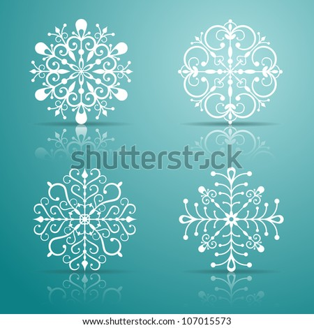 Vector snowflakes set for Christmas design. EPS 10 vector illustration. Contains opacity masks.
