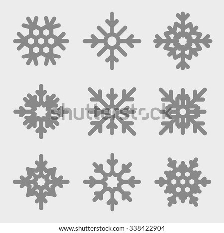 Vector snowflakes set. Snowflakes icons on gray background. - stock vector