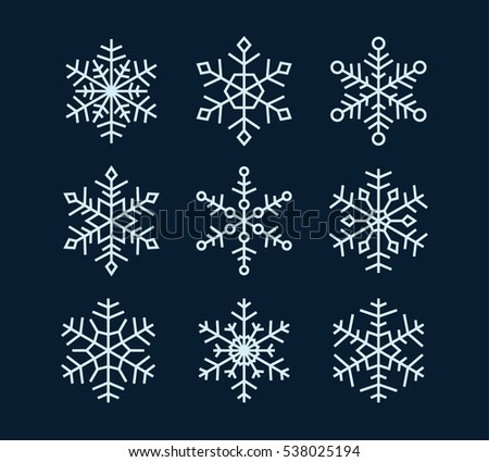 Vector snowflakes set. White elements on dark background.