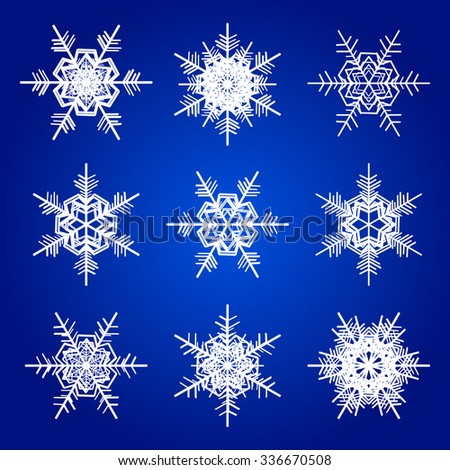 Vector snowflakes white isolated on blue holidays illustration