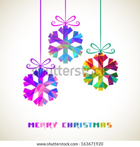 Vector snowflakes with bow made from color triangles. Christmas original modern design element. Greeting, invitation card with sparkling decoration. Festive decorative Illustration for print, web  - stock vector