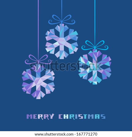 Vector snowflakes with bow made from color triangles. Christmas original modern design element. Greeting, invitation dark blue card with sparkling decoration. Decorative Illustration for print, web - stock vector