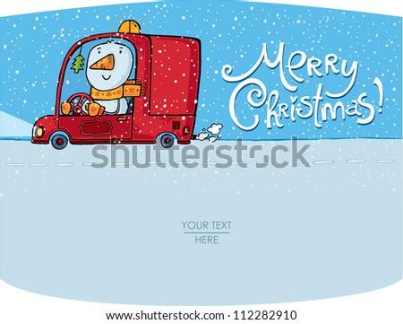 vector snowman card for christmas - stock vector