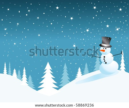 vector snowman card for christmas. - stock vector