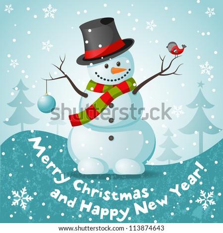 Vector snowman. EPS 10 vector illustration for Christmas design.