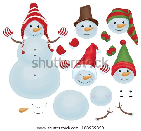 Vector snowman template, make own snowman,  snowman can change faces. - stock vector