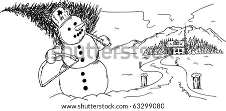 vector - snowman with tree and saw  at winter time