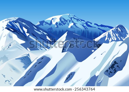 Vector Snowy Mountains, Eps 10 Vector, Gradient Mesh and Transparency Used, Raster Version Available  - stock vector