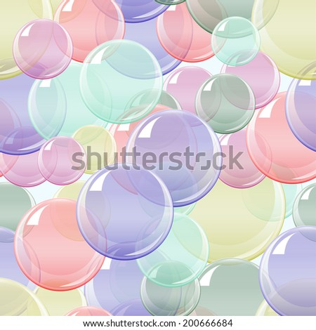 Vector Soap Bubble seamless Pattern. Background Illustration for  your Design - stock vector