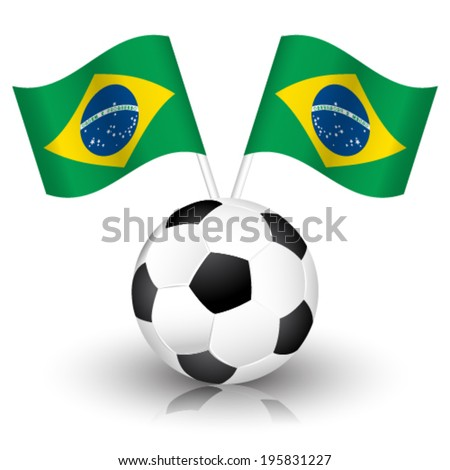 Vector soccer background with soccer ball and brazil flags.