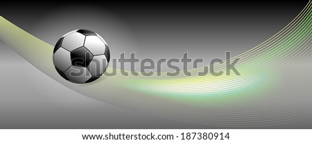 Vector Soccer Ball on Green Banner with cool Swooshes added for a feeling of Speed - stock vector