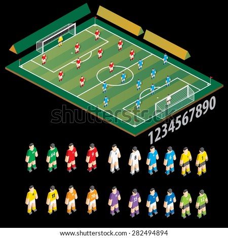 Vector soccer field and players. - stock vector
