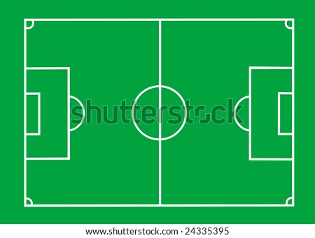 Vector Soccer field with lines on green - stock vector