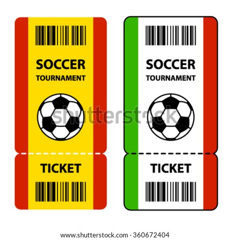 vector soccer football tournament tickets - stock vector