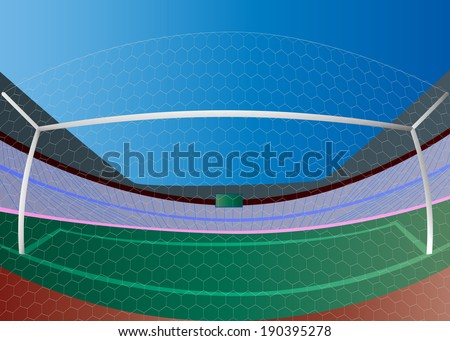 Vector soccer goal and green field - stock vector