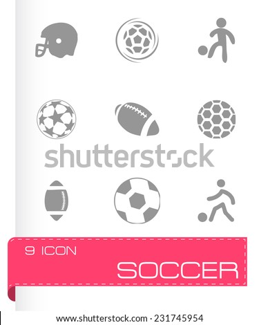 Vector soccer icons set on white background - stock vector