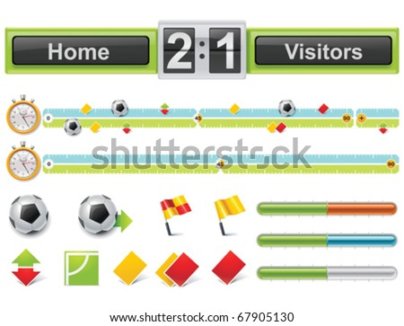 Vector soccer match timeline with scoreboard - stock vector