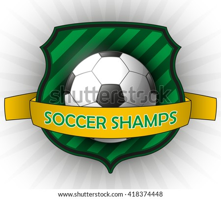 Vector soccer or football shamps emblem on white bursting background. - stock vector