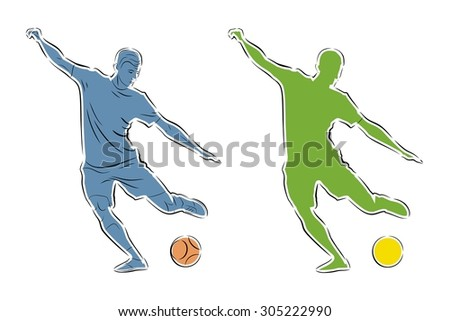 vector soccer player sketch. player shooting.white background - stock vector