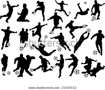 vector soccer's players silhouettes