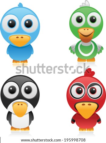 vector social birds set - Separate layers for easy editing - stock vector