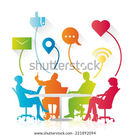 Vector social business meeting - stock vector