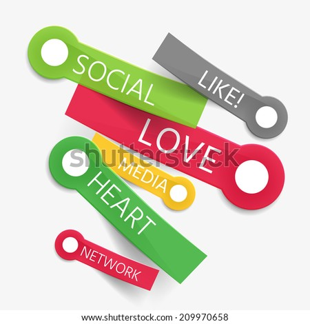 Vector social like tag cloud of stickers - like, love, media, heart and network words - stock vector