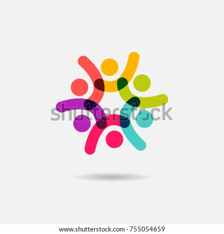 Vector Social Logo Icon People Together Stockvector 755054659