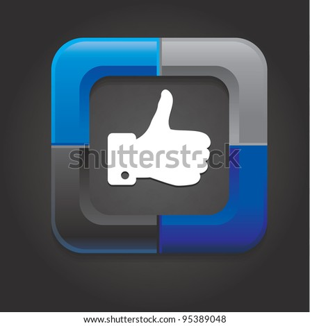 vector social media button with hand on black background - stock vector