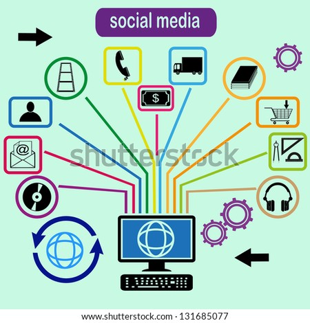 Vector social media concept - abstract illustration with circles and icons
