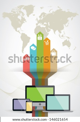 Vector social media concept - abstract illustration with circles and icons  - stock vector