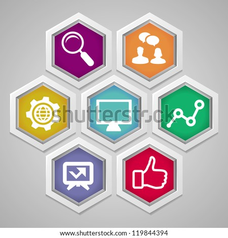 Vector social media concept - abstract illustration with hexagons and icons - stock vector