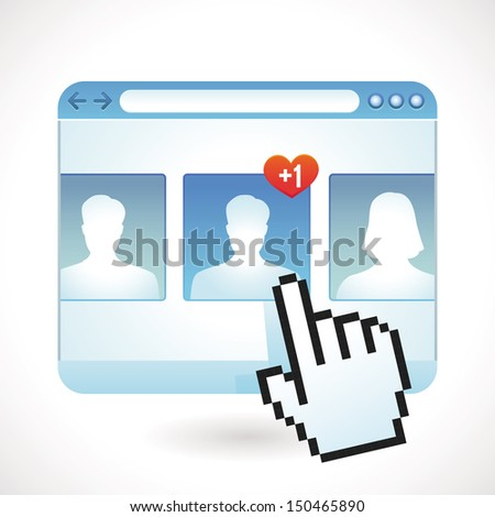 Vector social media concept - browser window and contact icons - stock vector