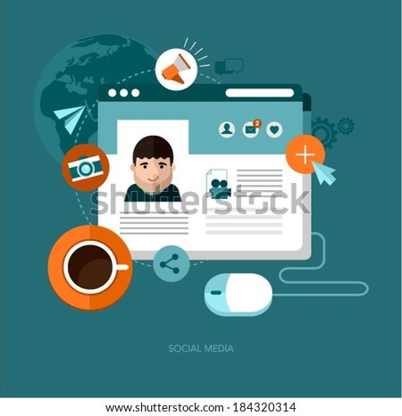 vector social media concept illustration - stock vector
