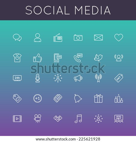 Vector Social Media Line Icons - stock vector