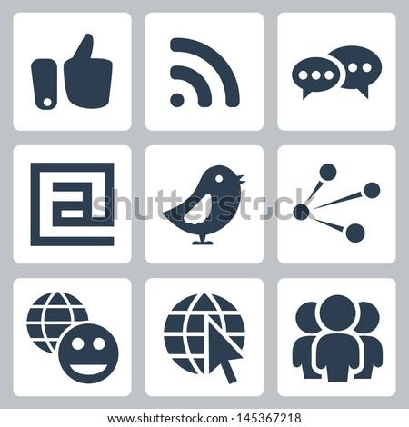 Vector social network icons set - stock vector
