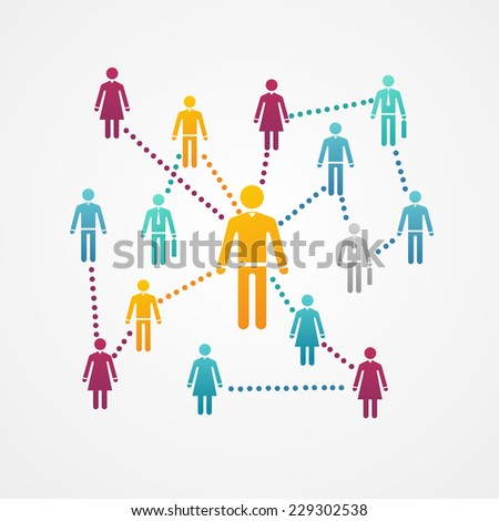 Vector Social network with silhouette icons. Connections - stock vector