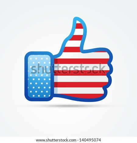 vector social thumb with american flag - stock vector