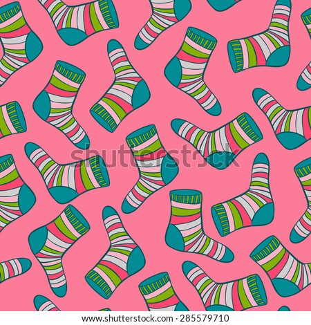 vector socks seamless pattern. It can be used for wallpaper, wrapping paper, textile design - stock vector