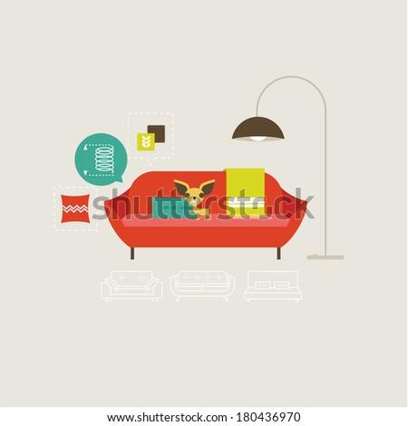 Vector sofa icons - stock vector