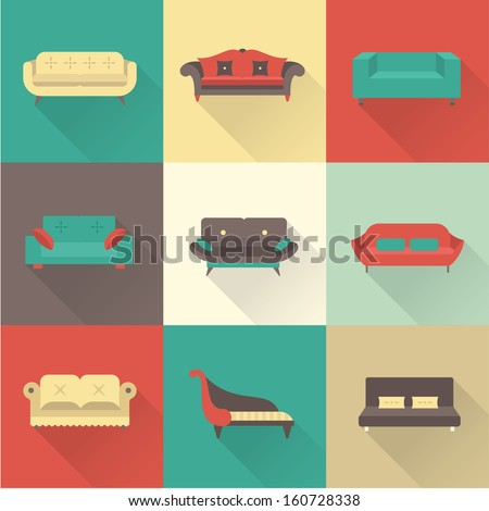 Vector sofa icons set - stock vector