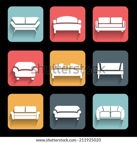 Vector sofa icons set. Interior Design. Vector - stock vector